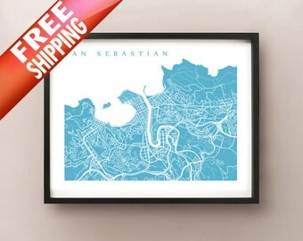 San Sebastian Map - Donostia, Basque County Spain Art Print