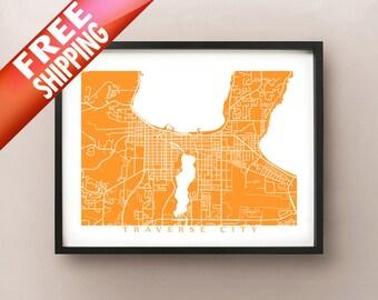 Traverse City Map Print - Michigan Poster