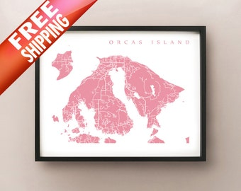 Orcas Island Map - Washington, USA Art Poster Print
