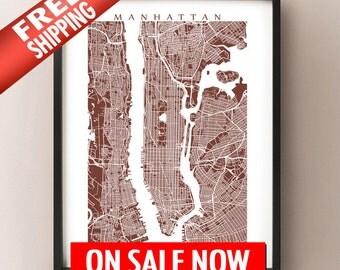Manhattan Map Print - New York Poster