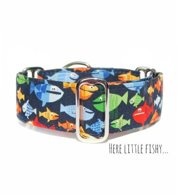 Fish dog collar summer ocean lake martingale or regular clip for Fish dog collar