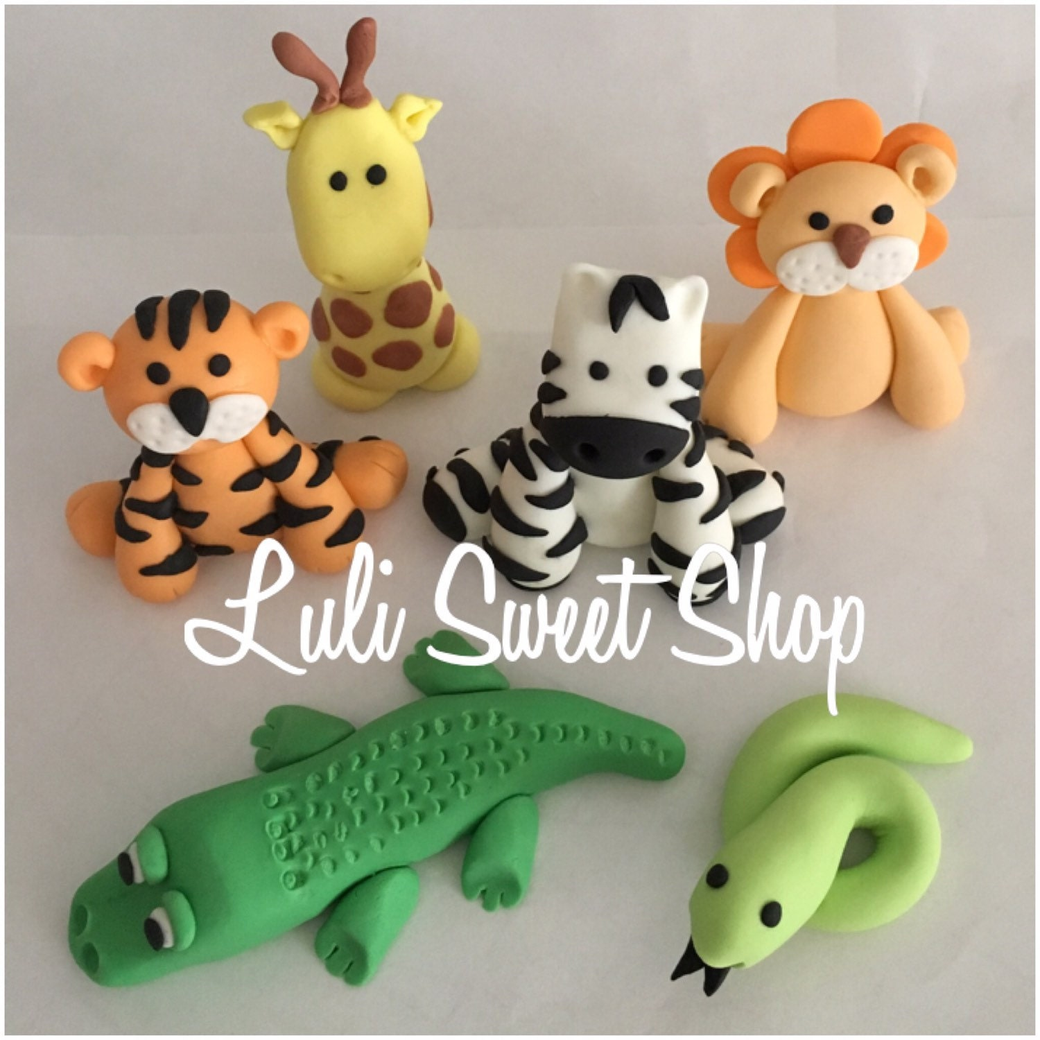 6 Edible Fondant safari Animals cake toppers