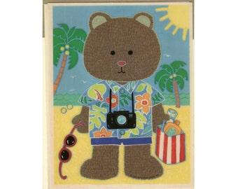 Hallmark Vacation Teddy Bear Sticker Self Adhesive Sheet