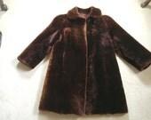 Sheared Lamb Coat, Natural Mouton Coat, Real Fur Coat, Classic Fur Coat, Brown Sheared Lamb Jacket,  Vintage Clothing, Real Fur Coat
