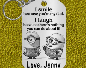 Dad Keychain Gift, Personalized FREE! Silly Minions, Father, Cute and Fun
