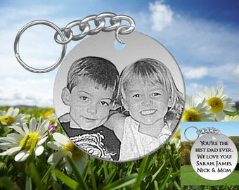Big Round, Fathers Day Gift or Anytime Gift, Laser Engraved Picture Keychain, Your Photo of Kids or Fam, Personalized on back
