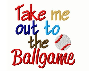 Take Me Out to The Ballgame Baseball Sports Embroidery Design 4x4 -INSTANT DOWNLOAD-