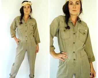 SALE 30% OFF 1980's Jumpsuit - Green Khaki Flightsuit - Size M/L