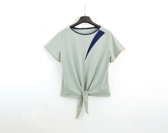 Recycled Cotton & Bamboo / Grönsippa Knot-Tee / Eco Lux Geometric shapes Knot Top