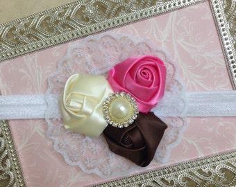 Baby Headband - Flower Headband - Newborn Headband - Toddler Headband- Satin Rosettes Headband