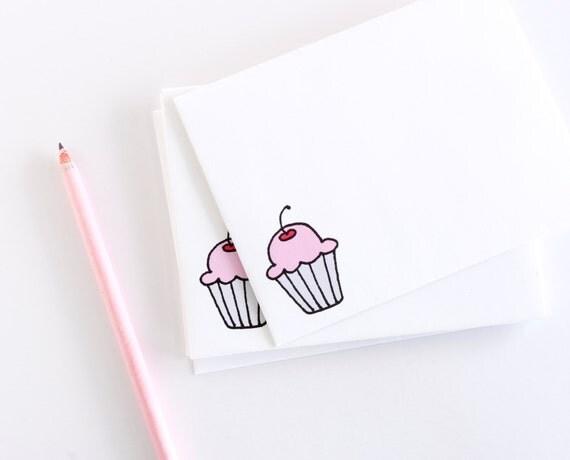 Illustrated Envelopes - Set of Cupcake Envelopes - Birthday Envelope Pack - Cute Envelopes