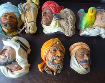 Collection of Bossons Heads, Chalkware Bossons