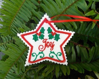 Christmas ~ Holiday ~ Wreath ~ Decoration Joy Star Ornament Machine Embroidered on White Linen with Green ~ Red ~ Holly ~ Ribbon Hanger