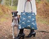 Whippet Oilcloth Tote Bag by Susie Faulks/ Bag/ Oilcloth Bags/ Made in England/ Dog / greyhound / lurcher /sighthound / whippets / hounds