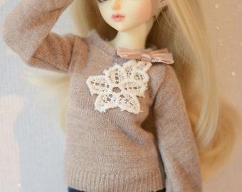 Minifee sweater beige lace flower