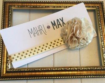 Small Ivory Satin Flower Headband