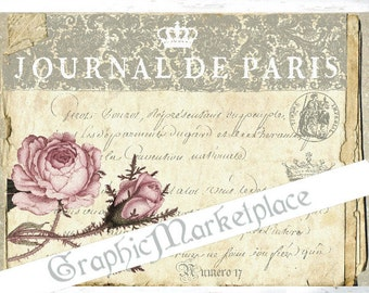 Journal de Paris French Antique Paper Old Shabby Chic Large Image Download Vintage Transfer Fabric digital collage sheet printable No. 009