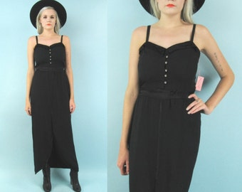 70s Black Gunne Sax Maxi Dress, Evening Gown, Size Small to Medium, Formal. Holiday, Christmas, Party Dress, New Years, Satin, Sleeveless