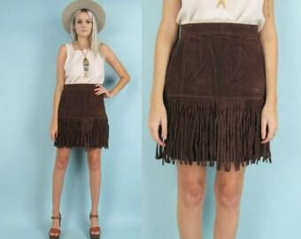 Leather fringe skirt | Etsy