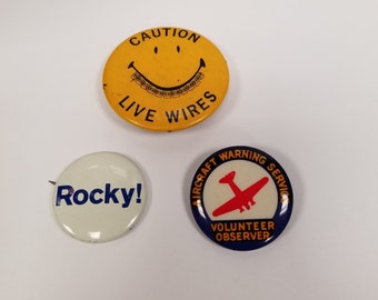 Lot of 3 Miscellaneous Buttons-Rocky!, Aircraft Warning, Caution