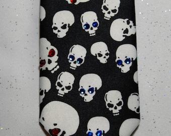 White skull skinny rhinestone necktie