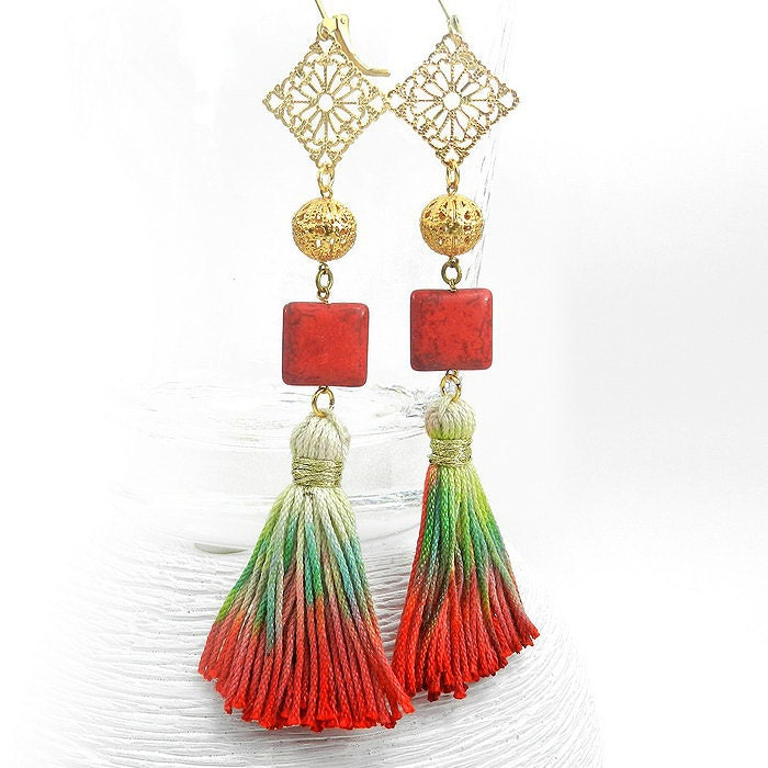 Make Your Own Tassel Necklace: Ombre Tassel Earrings Red And Green Statement Earrings Boho