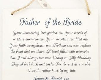 Personalised Father of the Bride / Father of the Groom Wedding Poem Thank You  Sign Plaque.