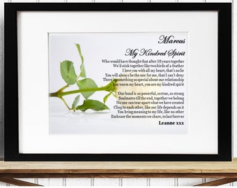 Personalised Love Framed Poem - Kindred Spirit