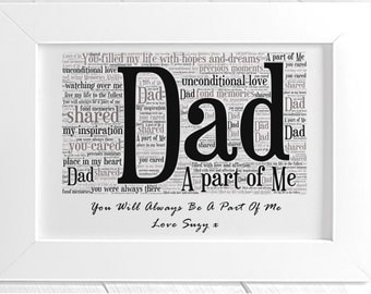 Personalised Father Remembrance Framed Word Art