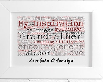 Personalised Grandfather Framed Word Art - My Inspiration
