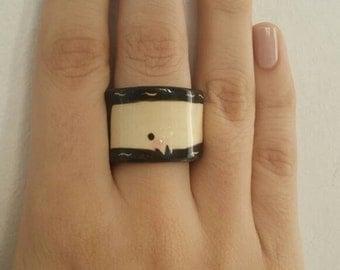 Ceramic whale ring