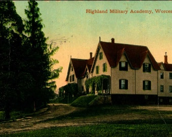WORCESTER MA Massachusetts Highland Military Academy 1910 Vintage Postcard