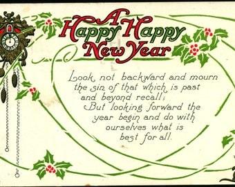 New Year, Clock, Mouse, Embossed, Port Reading, NJ, 1919, Vintage Postcard