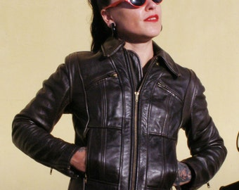60s/70s  Just Leather motorcycle jacket for ladies