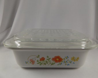 Vintage Corning Ware Wildflower Casserole Dish Refrigerator Dish with Optic Bubble Glass Lid