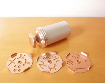 60's/70's MIRRO Copper Cookie/ Pastry Press- Aluminum, Dial-a-Design, 3 Disc Attachments for 12 Different Cookie Designs!