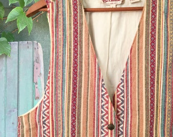 Southwestern Striped 80's Bechamel Vest w/ Amazing Indian Head Brass Buttons