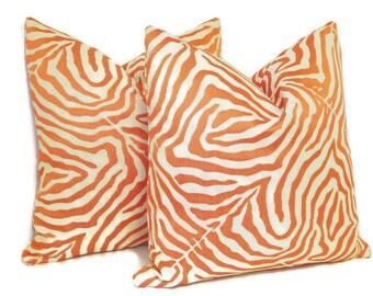 Orange Zebra Print Pillow Cover- Modern Zebra Pillow-Animal Print Pillow Cover-Zebra Stripe Pillow