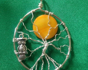 Owl sitting under a full moon tree of life necklace, yellow, silver, jewellery