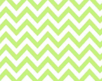 FLANNEL Green/White Chevron Fabric From David Textiles