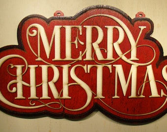 Merry Christmas Wood Sign - Vintage Sign - Rustic Sign - Shabby Chic Sign - Red and White - Christmas