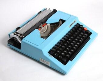 Vintage blue typewriter Omega 30, vintage manual typewriter, soviet blue typewriter, mid century typewriter, vintage typewriter soviet