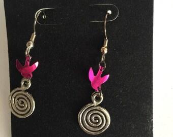 Pink Sparrow Swirl Earrings