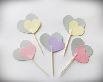 Party Picks mix, 24 Heart Toppers, Valentines Cupcake Toppers, Party Picks, Heart Toppers, Heart Cake Toppers, Valentines Decor