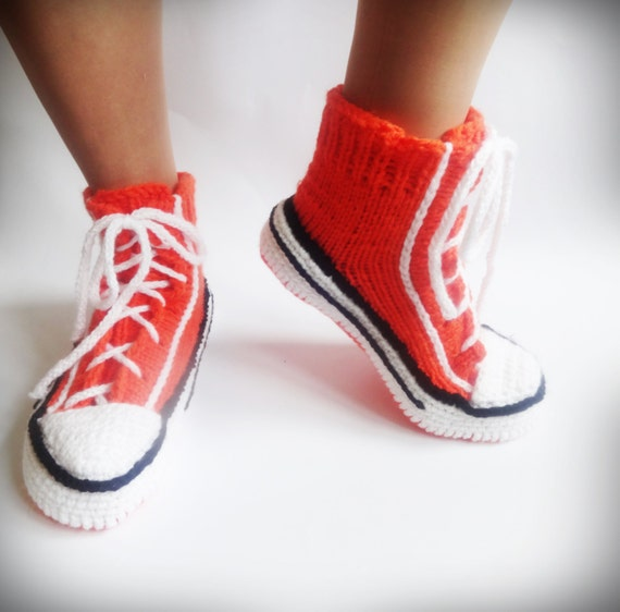 Knitting Pattern For Converse Socks : ?range Converse Slippers Crochet Converse by CrazyButterflies