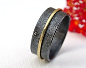 unique mens wedding band gold silver, wide wedding ring black silver, gold silver ring, viking wedding band, artisan gold ring reticulated