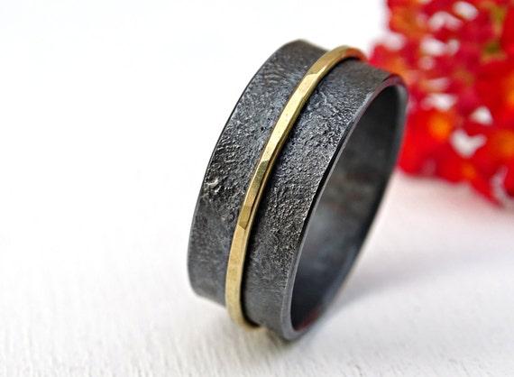 unique mens wedding band gold silver wide wedding ring black