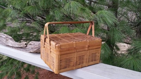 Wicker Basket With Hinged Lid : Woven wicker basket with hinged lid swing handles