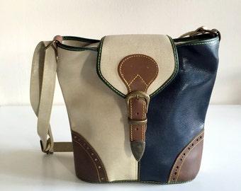 Shoulder vintage bag / / multicolor satchel / / 70 s