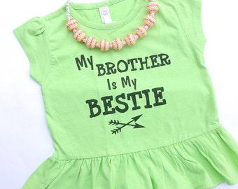 Custom Saying Bestie toddler ruffle tshirt